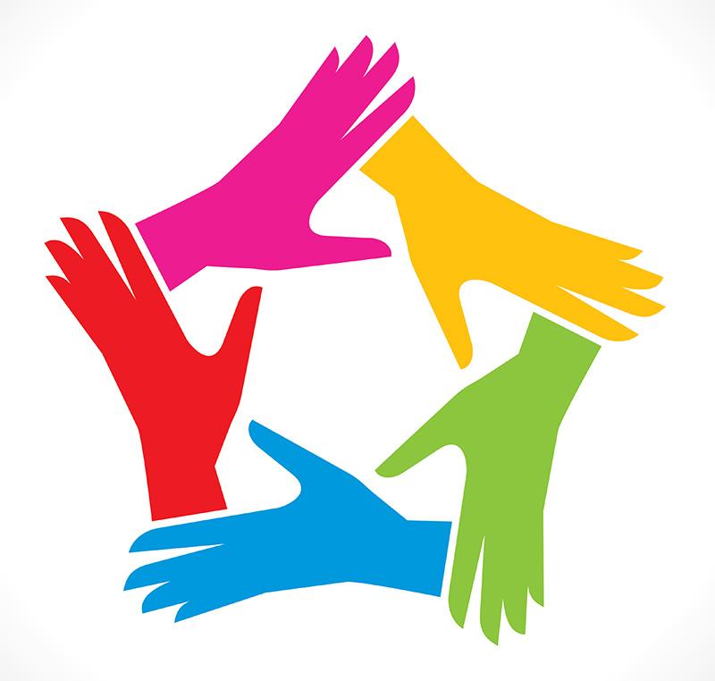 fünf Hände